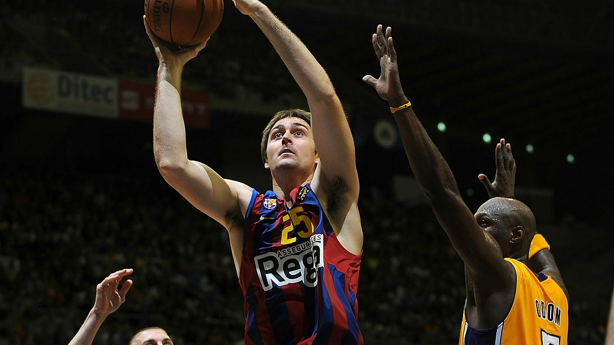 Erazem Lorbek, en un amistoso contra los Lakers (Foto Euroleague/Getty)